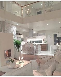 Try To Decorating With Luxury White Living Room Design 01 - Home Decor Design Living Room Interior, Home Interior Design, Modern Interior, Modern Luxury, Apartment Interior, Interior Decorating, Kitchen Interior, Luxury Living Rooms, Kitchen Decor