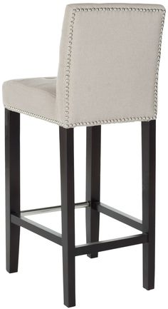 Safavieh Furniture - The Thompson Bar Stool offers classic design and rich comfort for any interior. Featuring espresso finished birch wood legs and soft sea mist linen with