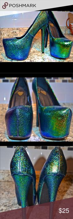 Green Iridescent Party Heel! 🎉 Green shiny iridescent platform heel. Heel is about 6 inches and platform is 1.5. So much fun and always the talk of the town! Size 6.5                ***2 small imperfections show in pictures. Actually look better in person due to flash! Shoes
