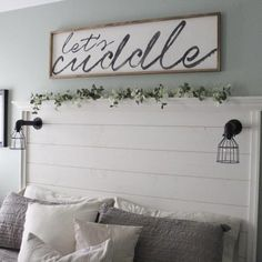 Let's Cuddle Wood Sign #homedecorideas