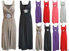 Womens Ladies Long Evening Maxi Dress Buckle Party Plus Size 16 18 20 22 24 26