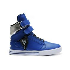 TK Society Supra Skate Shoes Blue Silver White Mens