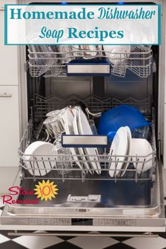Here is a round up of homemade dishwasher soap recipes you can use to wash dishes in your dishwasher {on Stain Removal