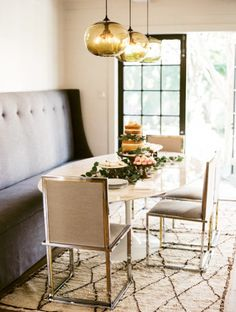 Banquette, mixed metals