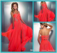 Wholesale Homecoming Dresses - Buy 2014 Coral Colored Prom Dresses Crystal Embellished Halter Slit Chiffon Bright Hot Pink Prom Dress Sexy Low Back Cut Out Neon Coral Gown, $84.78 | DHgate