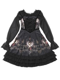 "Echelle du Sphinx OP エシェル デュ スフィンクス Brand:  Juliette et Justine Item Type:  OP Price:  ¥40,950 Year:  2012 Colors:  Black Features:  Lining, Long sleeve, Corset lacing, Pleats, Side zip Other notes:   ""Size 2"" About 214cm around the hem  Bust:  (2) 93 cm Waist:  (2) 73 cm Length:  101 cm Shoulder width:  (2) 38 cm"