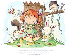 All Artwork Copyright Rachelle Anne Miller Creative Studios. All Rights Reserved. Scrapbook Images, Ann Miller, Woodland Fairy, Country Paintings, Baby Art, Cute Images, Colorful Drawings, Children's Book Illustration, Doodle Art