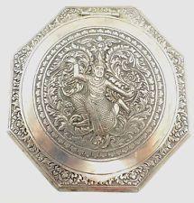 Vintage COMPACT Solid Silver Thai Dancer Design Total Weight 75.25g - V16 G03