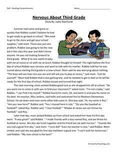 This Reading Comprehension Worksheet - Nervous About Third Grade is for teaching reading comprehension. Use this reading comprehension story to teach reading comprehension. Reading Comprehension Worksheets, Reading Fluency, Reading Passages, Reading Strategies, Comprehension Strategies, Teaching Reading, Reading Lessons, Reading Skills, Third Grade Writing
