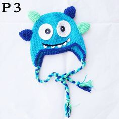 20pcs OWL crochet hat Children's handmade cotton knitting caps earflap Beanie with ears braids knitted ANIMAL HATS monkey/tiger $115.00