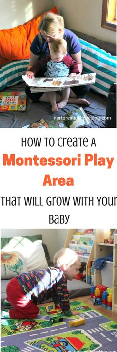 Encourage independent play from an early age by creating a Montessori inspired play area for your baby. And then easily transition to a toddler playspace as they grow! via - Diy Organization Ideas Montessori Playroom, Montessori Toddler, Toddler Preschool, Toddler Play Area, Baby Play Areas, Toddler Development, Parenting Toddlers, Baby Learning, Infant Activities