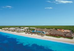 Miles of white sandy beach accompany this aerial view of Now Sapphire Riviera Cancun.