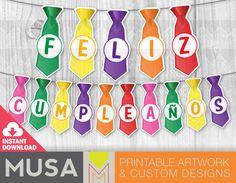 Ties Birthday / Bunting Banner / Feliz Cumpleaños / by MusaDesign