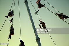 Stock Photo : Mexico, Cumbre Tajin, Daring men from Papantla Veracruz perform Dance of Flyers ceremony which is classified as intangible cultural heritage by UNESCO