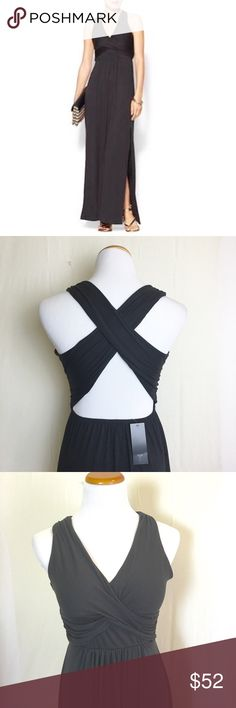 Black cross back maxi Super soft black maxi with open back and cross over straps. Side slit. Tinley Road Dresses