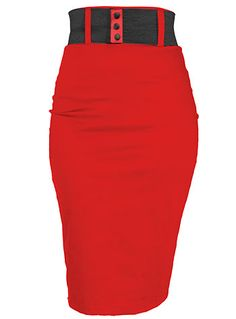 Cherry Bomb High Waist Pencil Skirt $59.00 AT vintagedancer.com