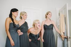 charcoal grey bridesmaid dresses, I love how soft and elegant these dresses are! Too dark?