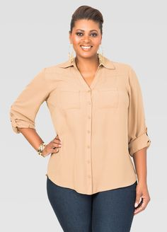 520a05ea4a00d Two Pocket Crepe Blouse-Plus Size Shirts-Ashley Stewart-035-W214303HG