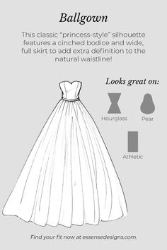 A glossary of wedding dress silhouettes that will help you achieve the bridal vision of your dreams! Learn which dresses compliment your bridal vision. Wedding Dress Accessories, Wedding Dress Styles, Designer Wedding Dresses, Fashion Sketch Template, Fashion Design Template, Dress Design Sketches, Fashion Design Sketches, Fashion Drawing Dresses, Fashion Dresses