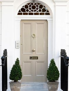 Painting your front door in a classic neutral colour smartens up the exterior of your house // Featured colours: Dulux Cameo Silk Rum Caramel Bleached Lichen 1 Door Entryway, Entrance Doors, Doorway, The Doors, Windows And Doors, Back Doors, Exterior Design, Interior And Exterior, Interior Trim