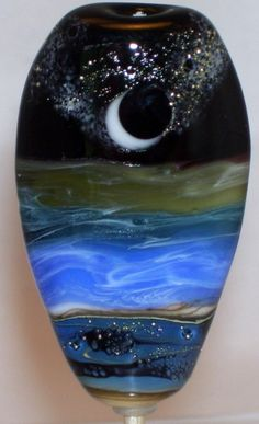 WSTGA~CALM BREEZE UNDER THE STARS~SEA MOON handmade lampwork focal glass bead #Lampwork By Molly Cooley