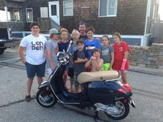 James A from Groton-Long Point (back center) is the hit of his shoreline community with this new 2014 Vespa Primavera 50 in Midnight Blue! It looks like he's going to be giving a lot of rides on his new scoot! :)  #Vespa #VespaHartford #Scooter #ScooterCentrale #Fun #Smile #Summer