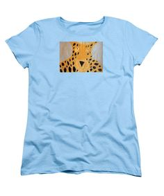 Purchase a women's Light Blue Designer t-shirt featuring the image of Cheetah 2014 by Patrick Francis.  Available in sizes S - XXL.  Each womens t-shirt is printed on-demand, ships within 1 - 2 business days, and comes with a 30-day money-back guarantee.