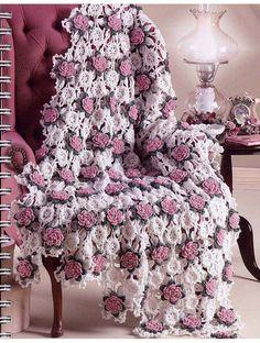 Плед / покрывало из розочек крючком.  #crochet_roses #crochet_blanket