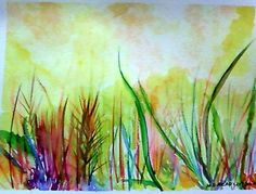 Wet Grass - Water Colors - A4 -Size-24 X 32cm. - Painting by Mintu Azad in My Projects at touchtalent