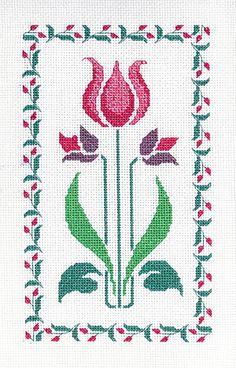 Tulip Art Deco Stencil Cross Stitch Kit by Barbara Thompson