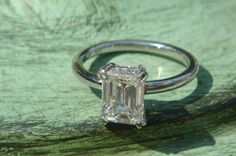 Emerald Cut Solitaire Diamond Engagement Ring White Gold Over Celebrity Rings, Celebrity Engagement Rings, Emerald Cut Diamonds, Colored Diamonds, Diamond Cuts, Art Deco Wedding Rings, Wedding Ring Bands, Solitaire Engagement, Solitaire Diamond