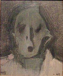 Helene Schjerfbeck (1862–1946): vanha nainen (omakuva) vuodelta 1945