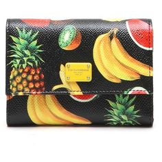 DOLCE & GABBANA Mini 'Tropical' Printed Wallet In Calf Leather (1.605 RON) ❤ liked on Polyvore featuring bags, wallets, dolce gabbana wallet, dolce gabbana bags, mini bag, calfskin wallet and calf leather wallet