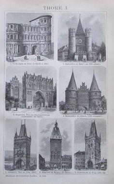 1895 TORE I. II Original Alter Druck Antique Print Lithographie