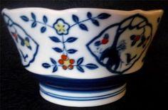 "Vtg Asian Porcelain Pedestal Bowl/Dish White Blue Yellow & Orange 5.5"" X 3"" Check more at https://thewildpetunia.com/store/asian-collectibles/vtg-asian-porcelain-pedestal-bowldish-white-blue-yellow-orange-5-5-x-3-euc/"