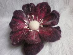 Wool Felted Poppy brooch flowerfelt red by FahionFeltProducts