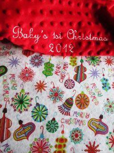 Baby's First Christmas Minky Blanket  35 x 29 by BucciAndBubba, $36.00
