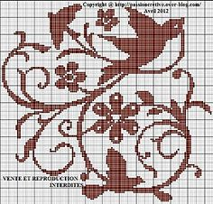 Birds and swirls - might make a very cool filet crochet pillow