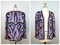 HEAVY Beaded Sequin Trophy Jacket // Heavily Sequined Blazer // Embellished Evening Jacket by Joan Leslie Evenings Size 10 by braxae on Etsy