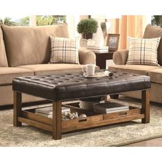 Coaster Furniture 500992 Ottomans In Black With Tufted Seating And  Removable Serving Trays · Leather Ottoman Coffee TableBlack ...