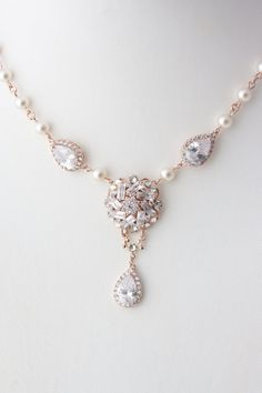 Rose Gold Bridal Necklace Crystal Necklace Wedding by LuluSplendor