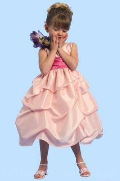 Cute Satin Ruffles Tea Length Common Sash Perfect Customzied Flower Party Dress