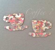 Fabric Magnets  Retro Coffee Cups & Saucers  by HawthornBramble, $6.00