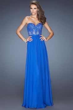 2014 Prom Dresses A Line Sweetheart Floor Length Chiffon Color Dark Royal Blue