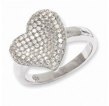 Heart Collection- Sterling Silver & Cubic Zirconia Brilliant Embers Fancy Polished Heart Ring