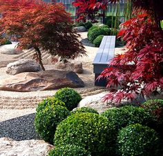 Zen Gardens & Asian Garden Ideas images) - InteriorZine We handpicked for you an impressive collection of ideas and visions all inspired from the Eastern philosophy that explores the connection between nature and Modern Japanese Garden, Japanese Garden Landscape, Japanese Maple, Japanese Gardens, Red Maple Tree, Asian Garden, Garden Inspiration, Garden Ideas, Amazing Gardens