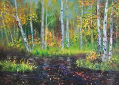 Items similar to Birch forest Impressionist art Autumn park Fall trees Druid landscape Mother Child Lake Nature lover gift Samhain Rustic decor Wall print on Etsy Impressionist Landscape, Impressionist Paintings, Landscape Art, Impressionism, Forest Falls, Birch Forest, Gifts For Nature Lovers, Lovers Gift, Autumn Park