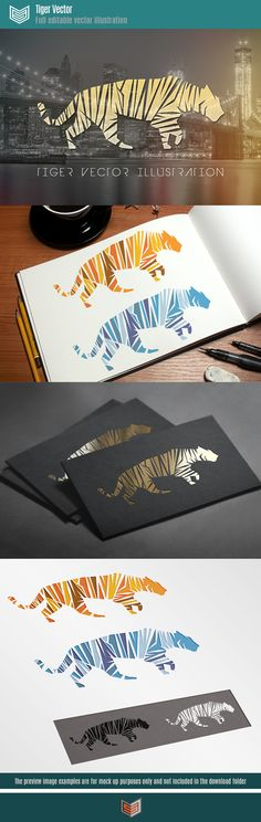 Tiger vector illustration template, An illustration representing a tiger formed by shapes define the figure by the stripes. Available as a normal tiger and snow tiger, also in black and white