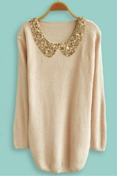 I bet you could just add a sparkly Peter pan collar to any old sweater!!!  Makes it look so much better!(: