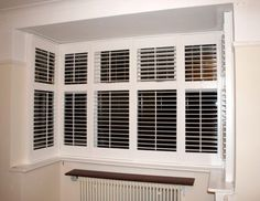 Shutters – Some Styles And Inspiration – The Homeward View Bay Window Shutters, Indoor Shutters, Diy Shutters, Interior Shutters, Interior Barn Doors, Window Blinds, Bay Window Dressing, Bay Window Living Room, Glass Closet Doors